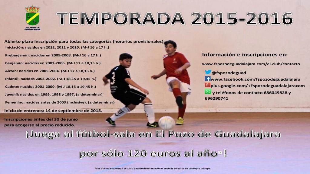 Cartel temporada 2015-2016 FS Pozo de Guadalajara