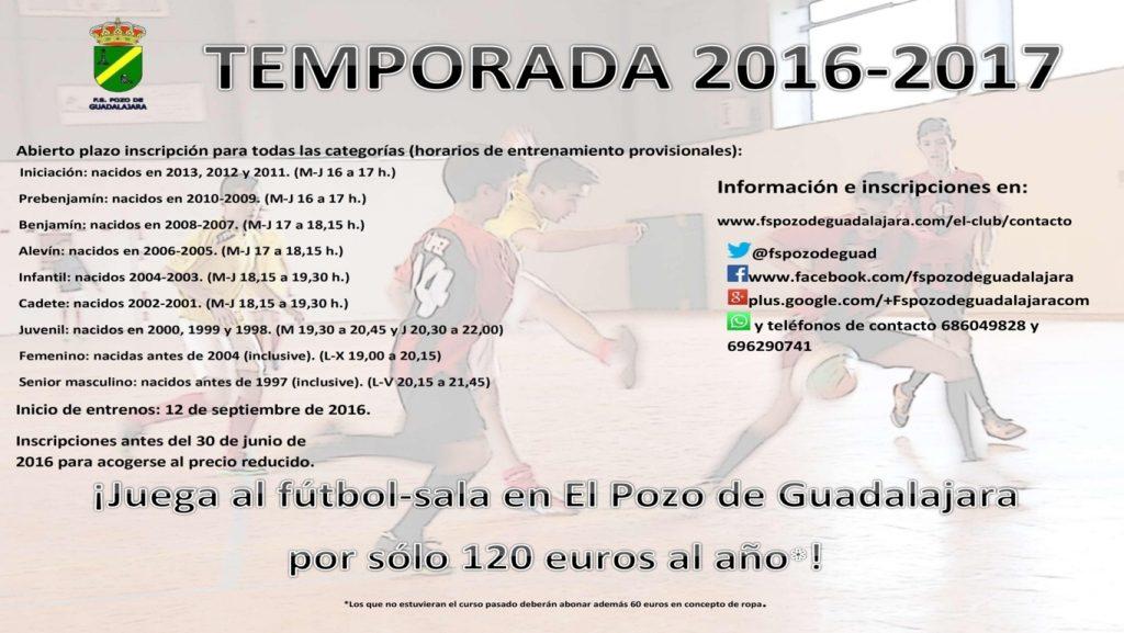 Cartel 2016-2017 FS Pozo de Guadalajara